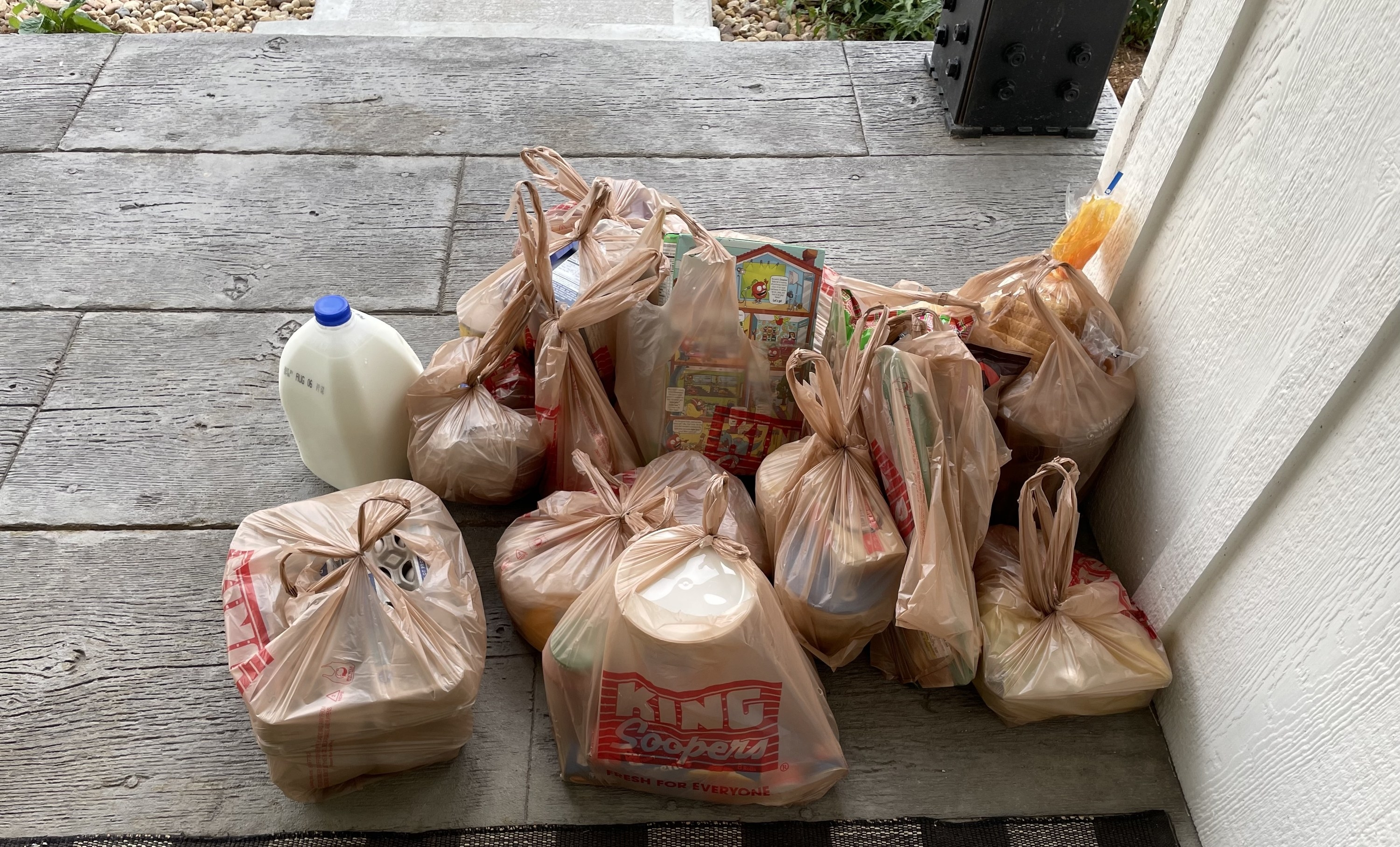 Groceries delivered to the front porch