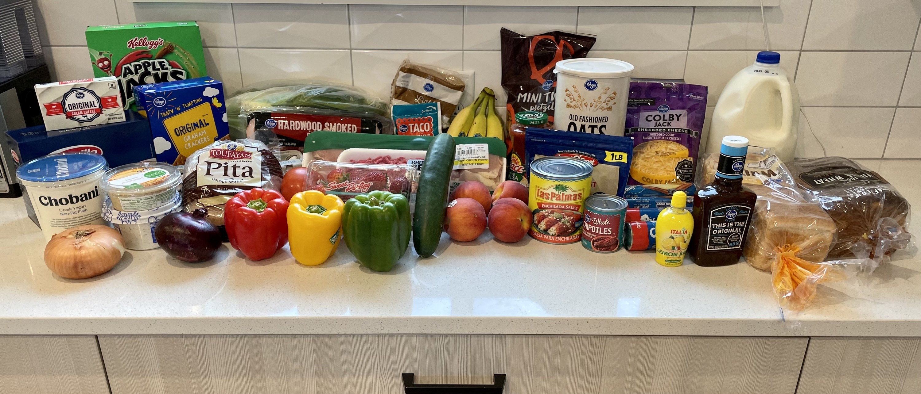 Groceries spread out on the countertop