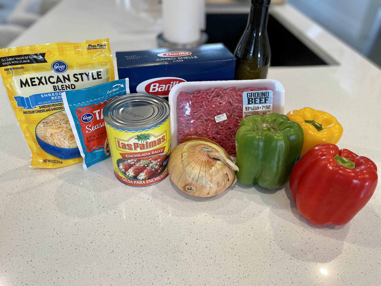 Ingredients used for Enchilada Stuffed Shells.