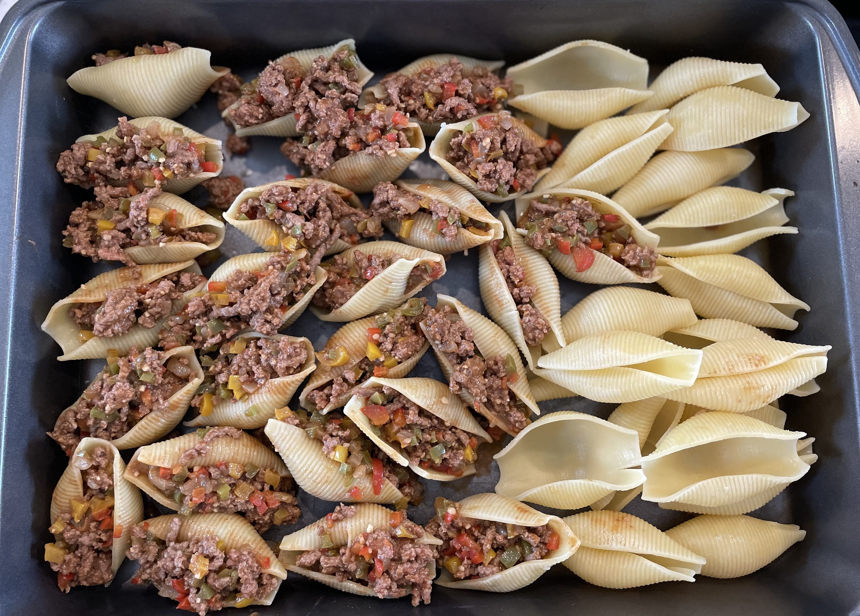 Stuffed shells prior to going into the oven