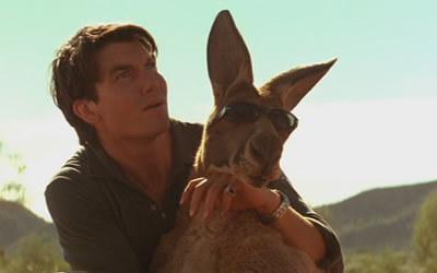 A man holding a kangaroo