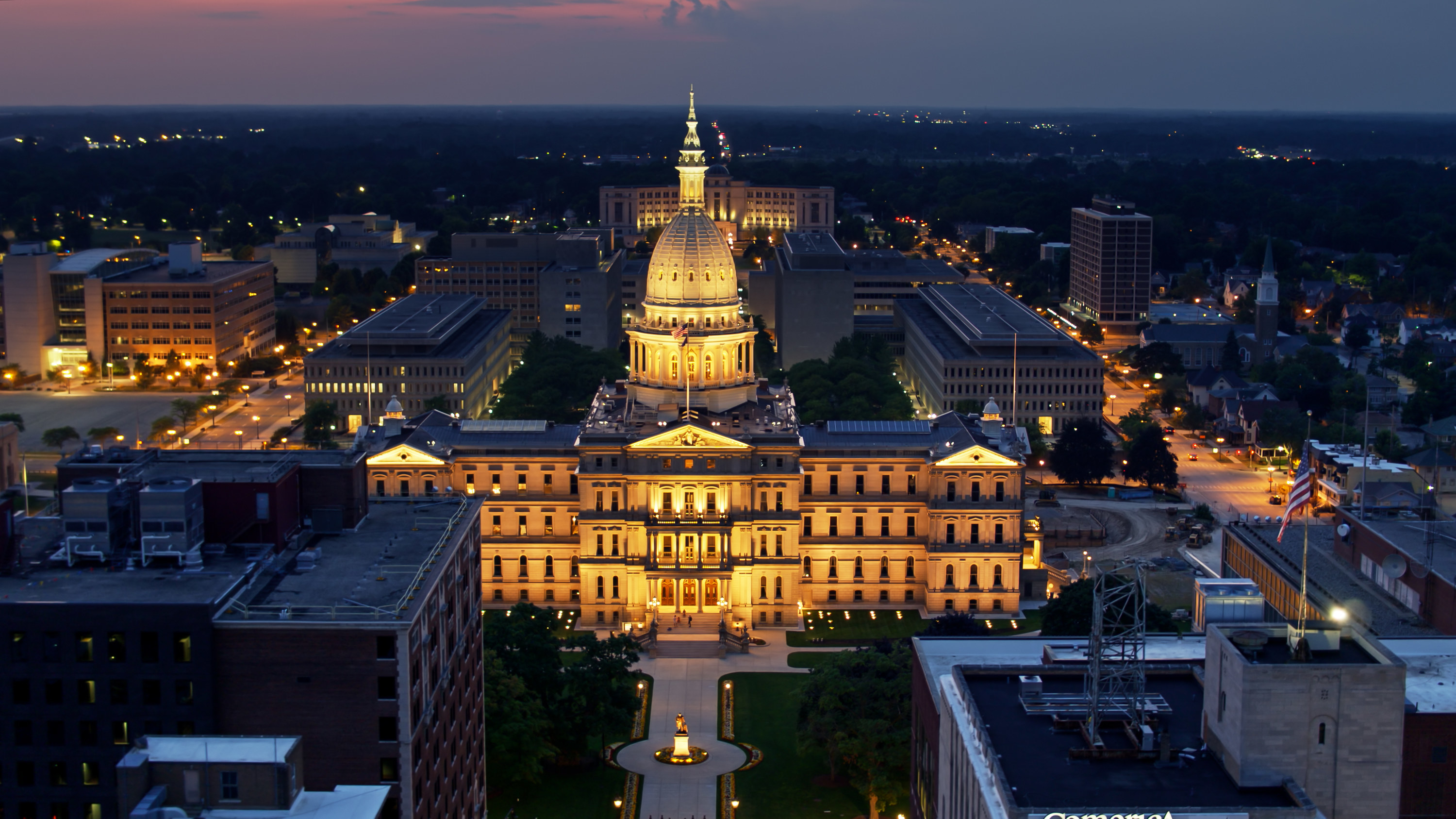 Drone shot of the Michigan State Capitol in Lansing on a summer evening