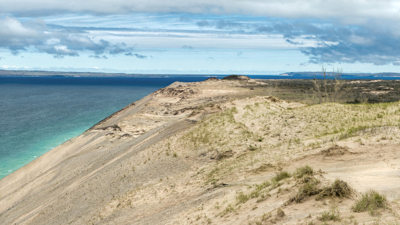 Overlooking Lake Michigan and dunes in Sleeping Bear Dunes National Park, Michigan