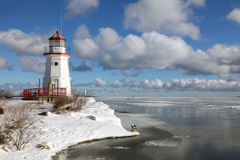 The Cheboygan Lighthouse on Lake Huron in winter