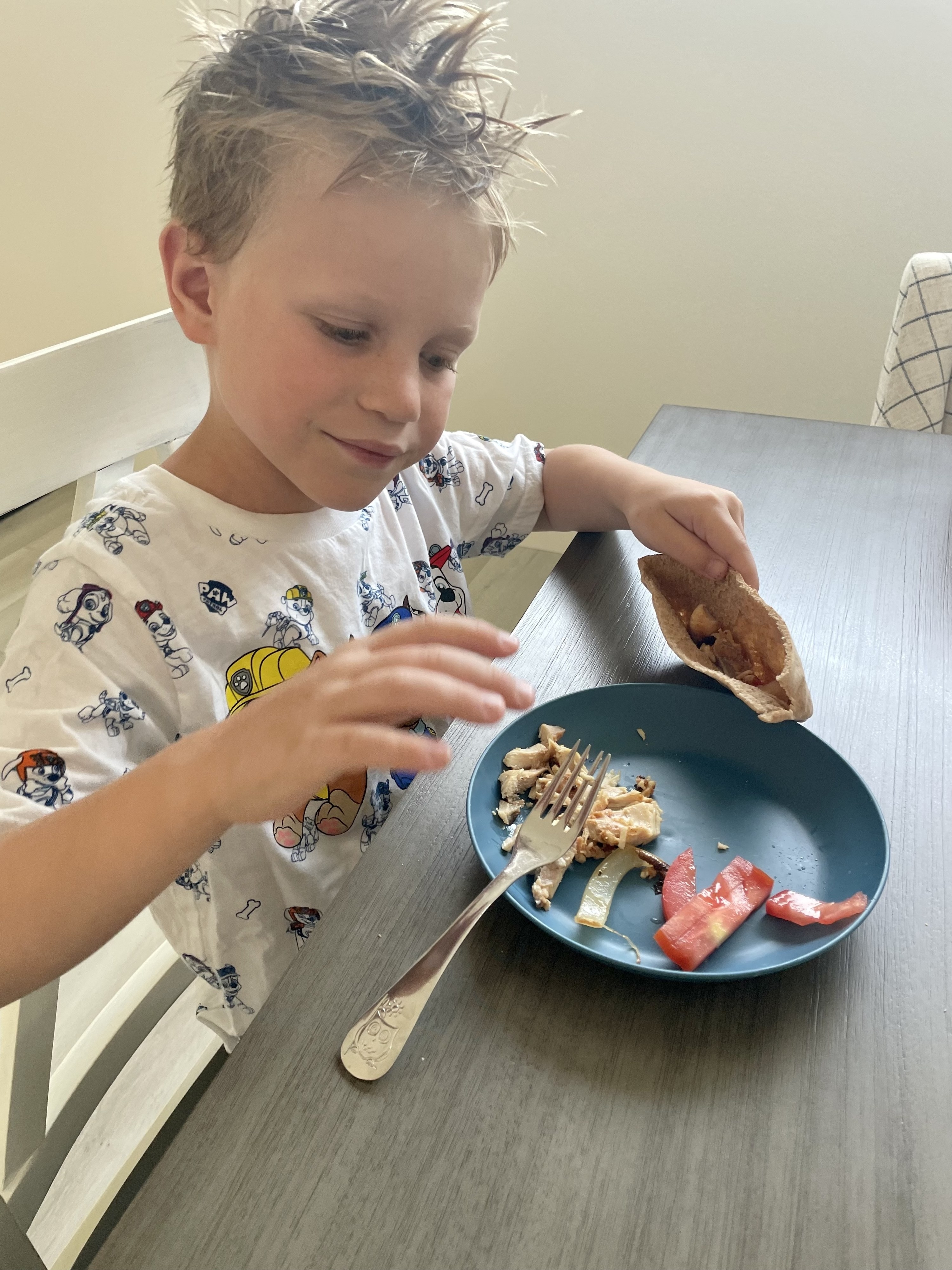 The author's kid eating a chicken gyro