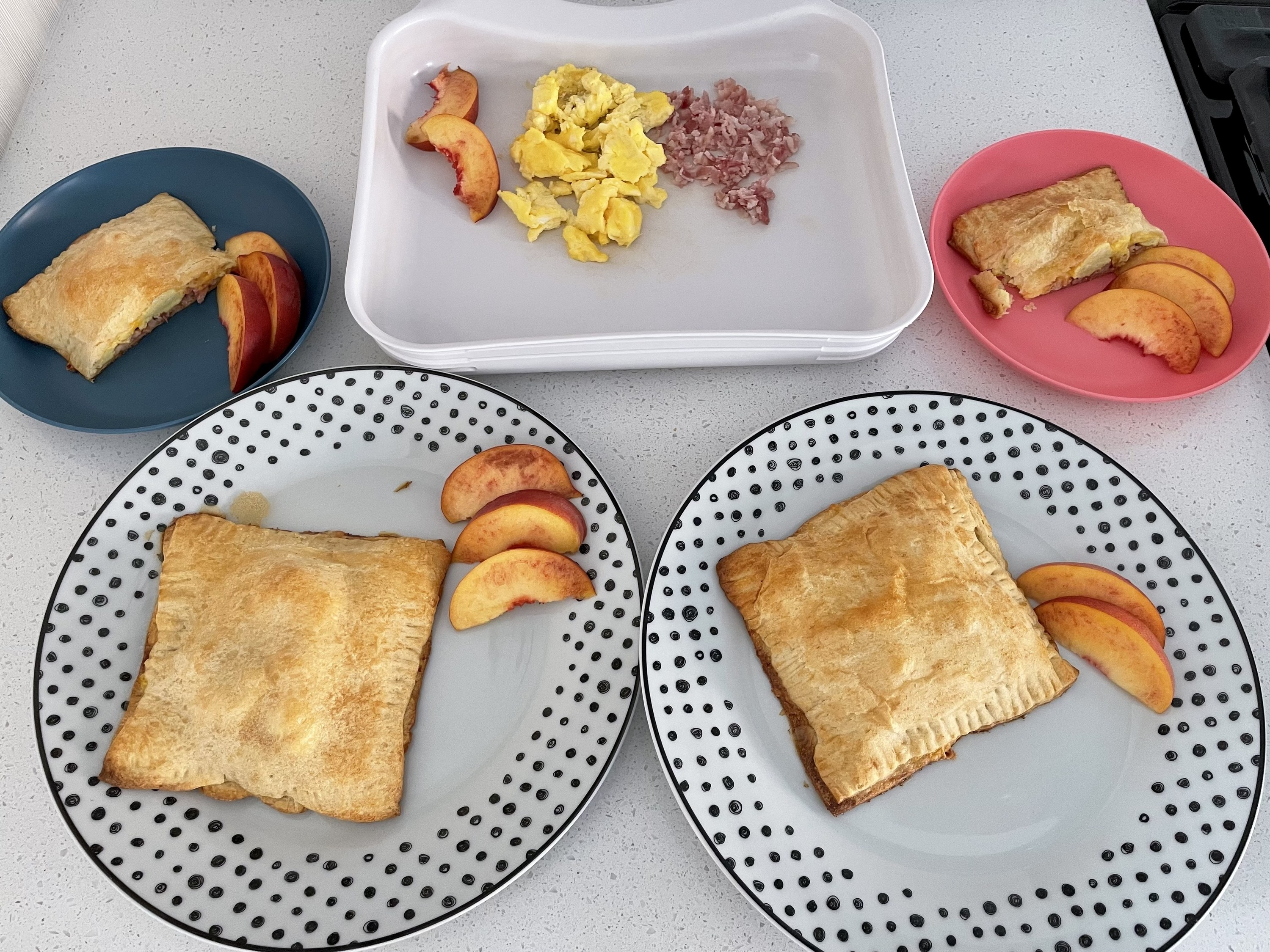 Breakfast pockets plated with fruit