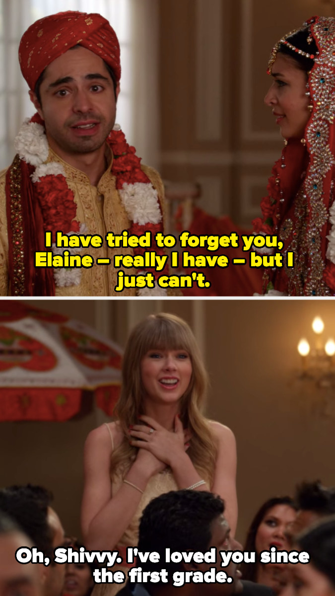Shivrang leaving Cece at the alter for Taylor Swift's character Elaine