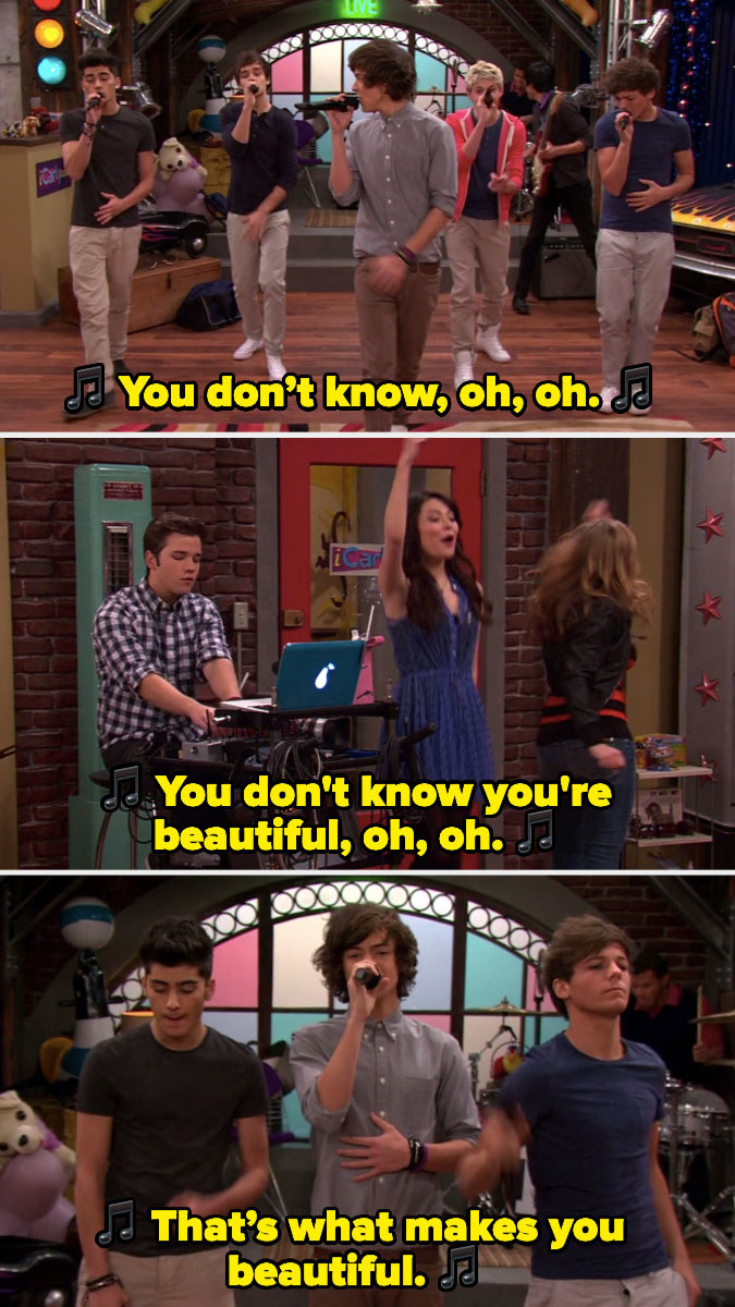 """One Direction seeing """"What Makes You Beautiful"""" on """"iCarly"""""""