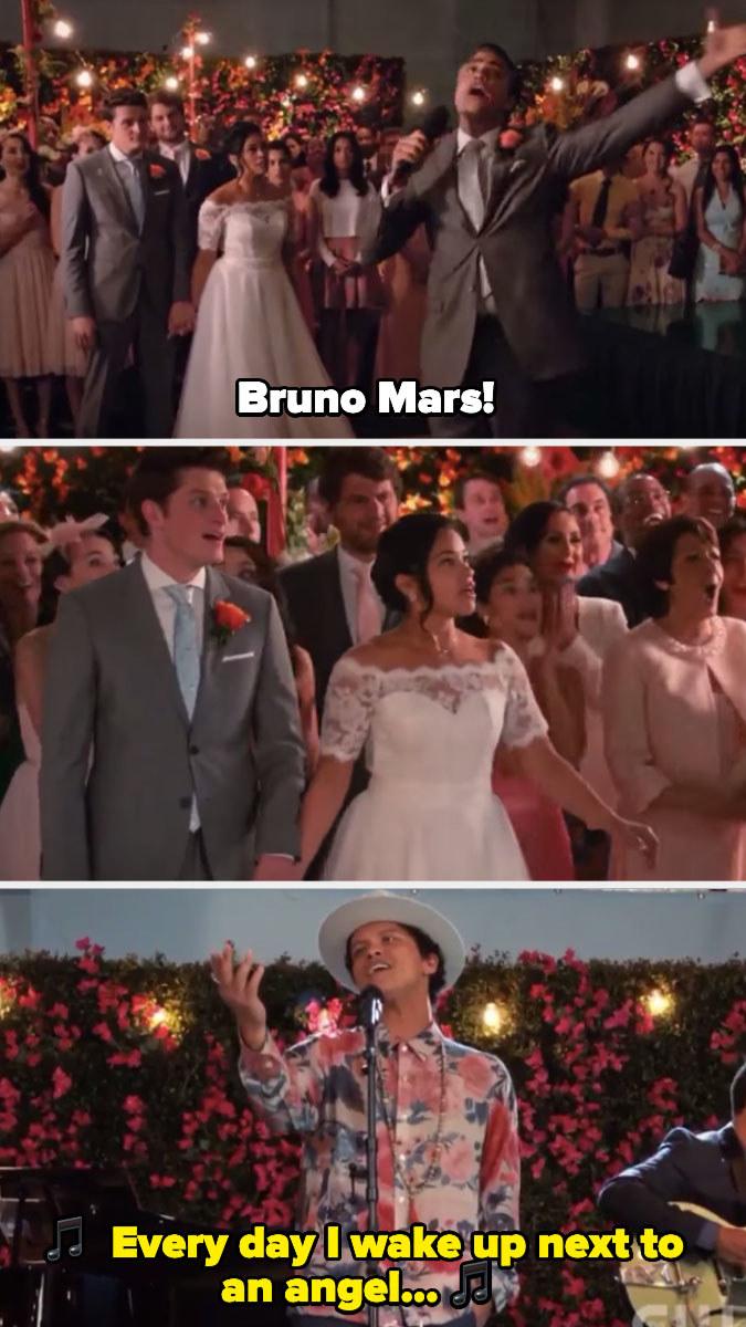 Bruno Mars singing at Jane and Michael's wedding