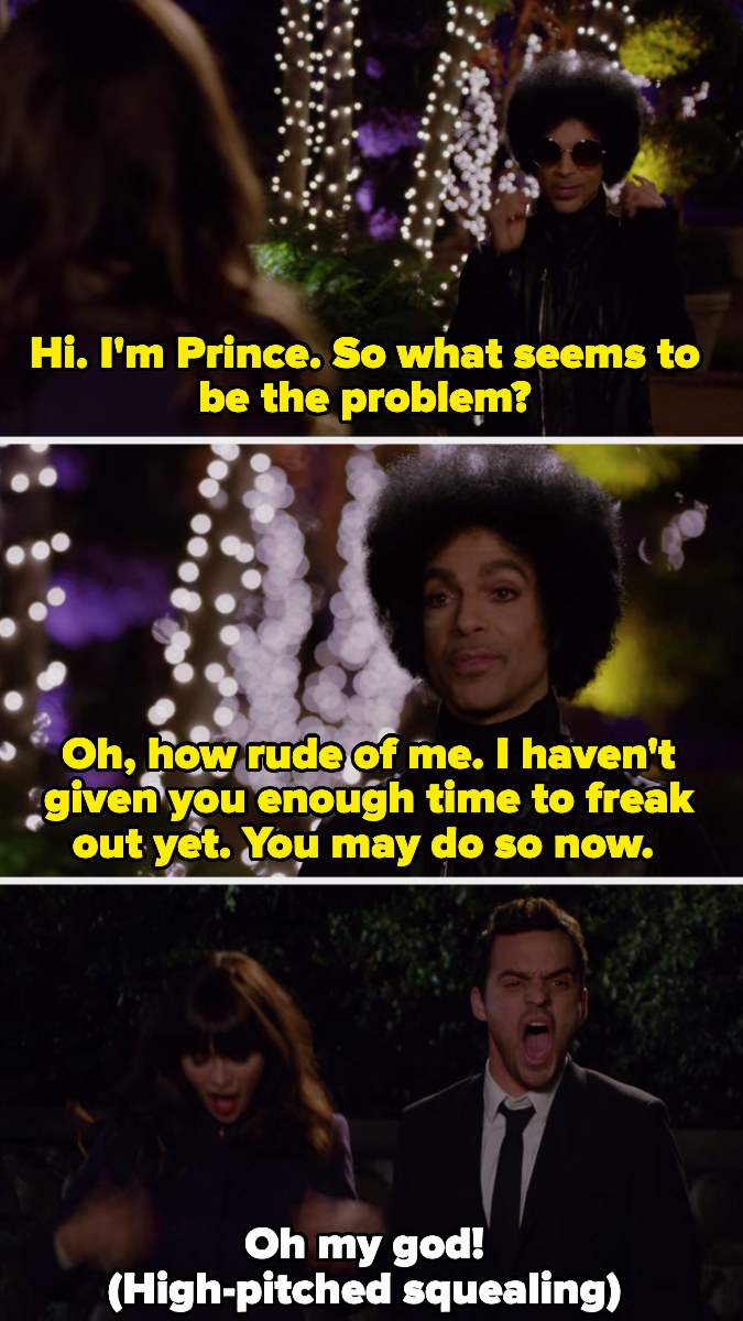 Jess and Nick freaking out upon meeting Prince