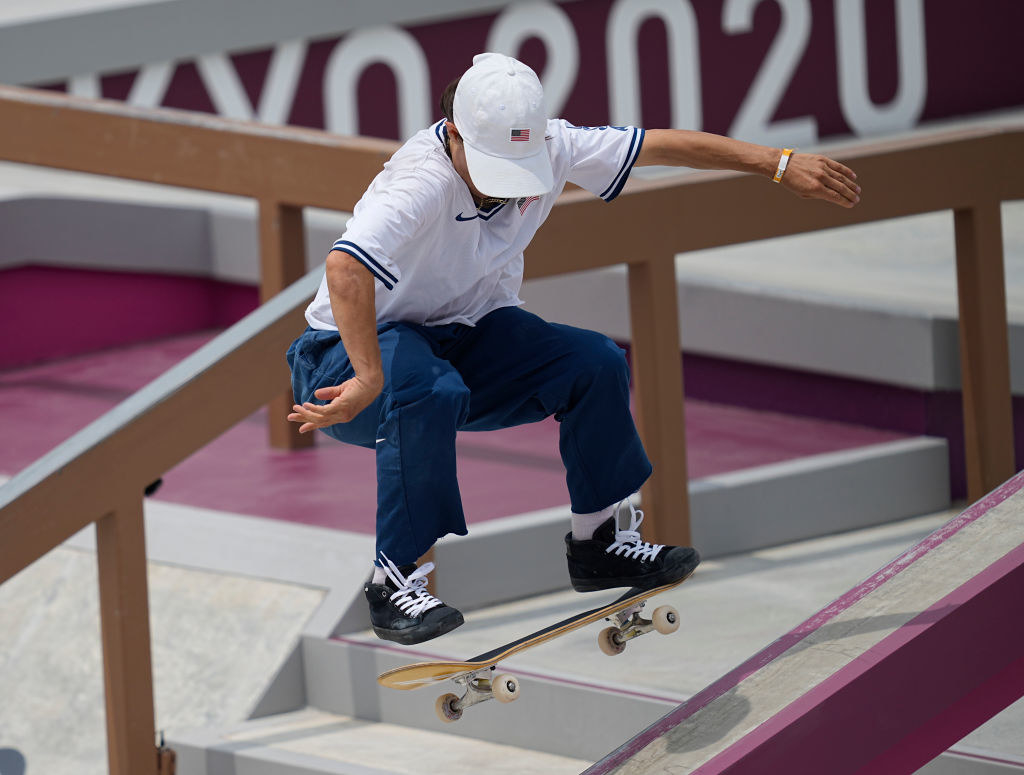 Alexis Sablone during women's street skateboard at the Olympics