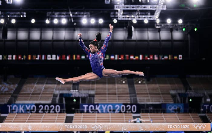 Simone Biles is photographed during the women's gymnastics qualifying rounds at the 2020 Tokyo Olympic Games