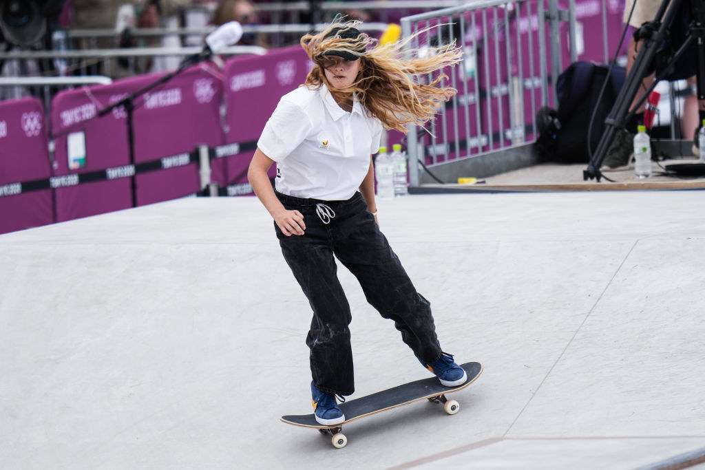 Lore Bruggeman of Belgium competes during the Women's Street preliminary round on day three of the Tokyo 2020 Olympic Games