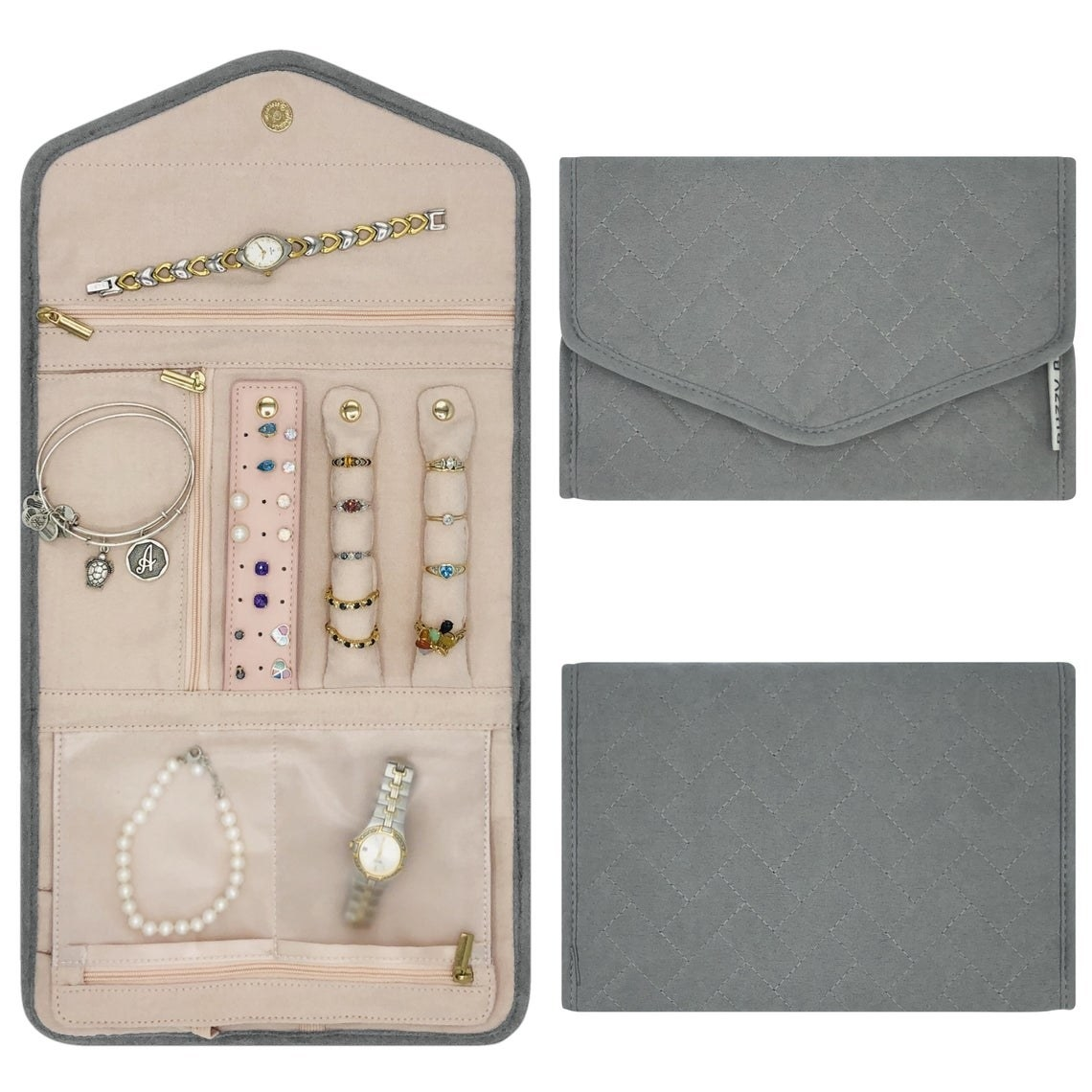 The jewelry case in gray showing what it looks like unfolded and then how compact it is folded