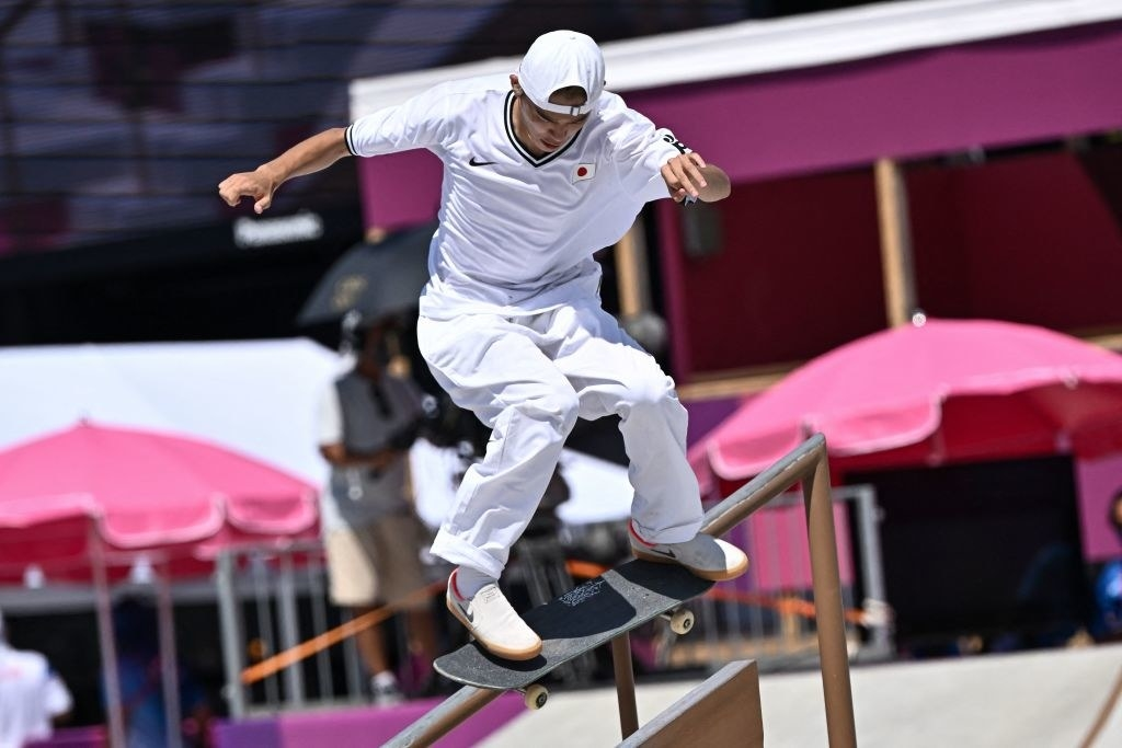 Japan's Sora Shirai competes in the men's street prelims heat 2 during the Tokyo 2020 Olympic Games at Ariake Sports Park Skateboarding in Tokyo