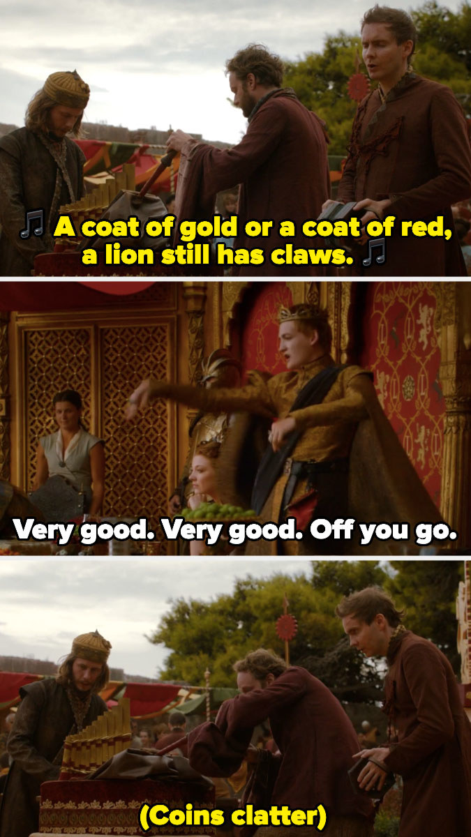 King Joffrey throwing coins at Sigur Rós, who were performing at his wedding