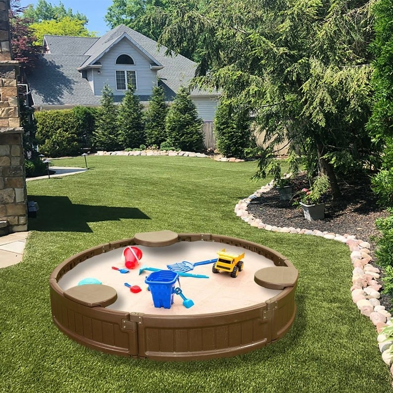 water resistant sand box in yard