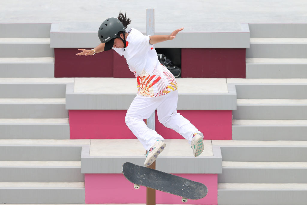 Wenhui Zeng of Team China competes during the Women's Street Prelims Heat 4 on day three of the Tokyo 2020 Olympic Games at Ariake Urban Sports Park