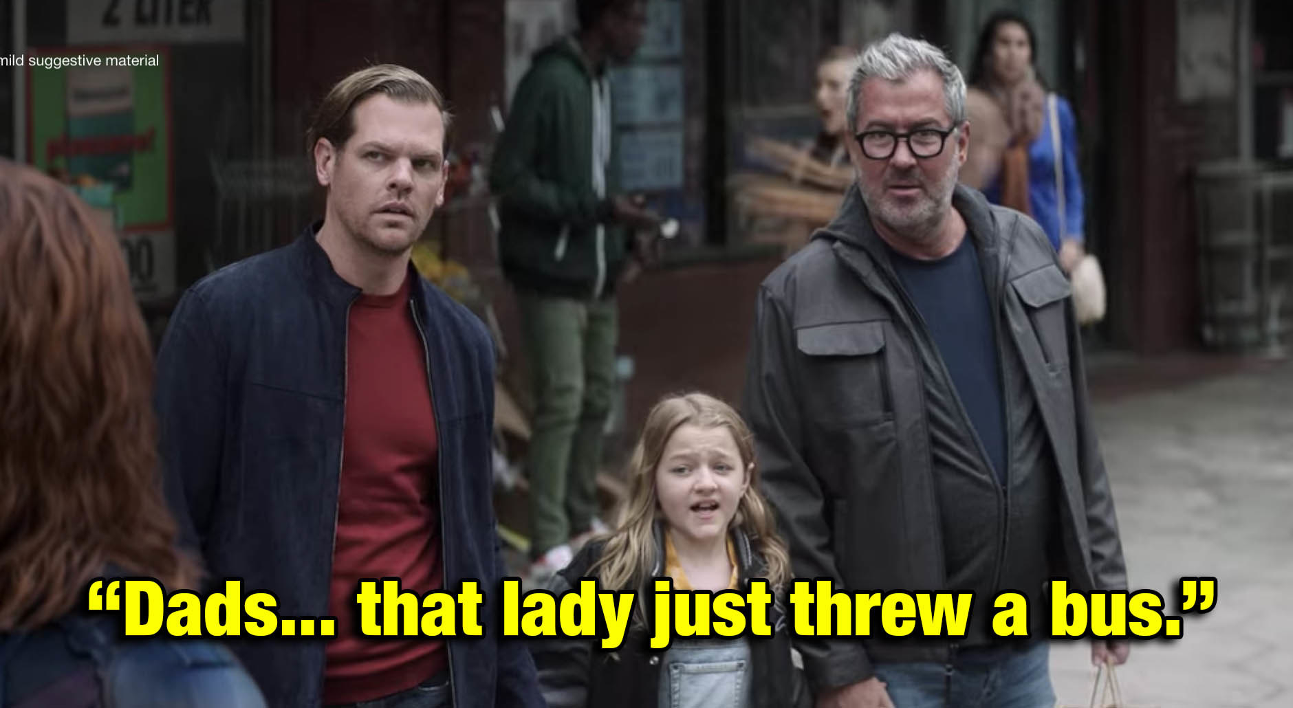 a little girl pointing out to her gay dads that a superhero just threw a whole ass bus
