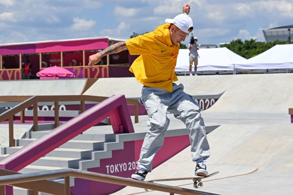 Brazil's Giovanni Vianna competes in the men's street prelims heat 4 during the Tokyo 2020 Olympic Games at Ariake Sports Park Skateboarding in Tokyo