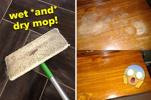 A split thumbnail of a Swiffer and a wood table