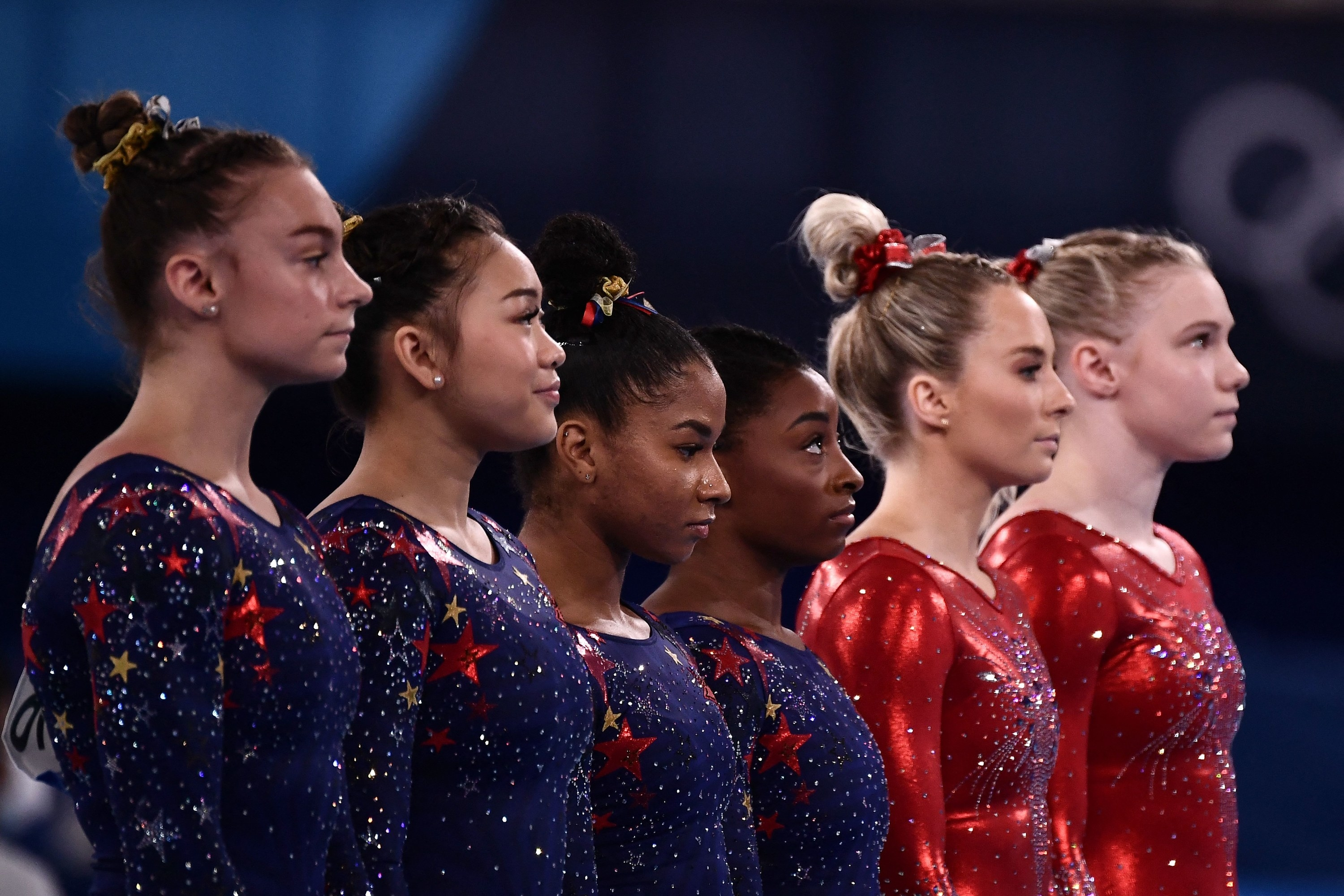 Grace Mc Callum, Sunisa Lee, Jordan Chiles, and Simone Biles are pictured during the qualification rounds at the 2020 Tokyo Olympic Games