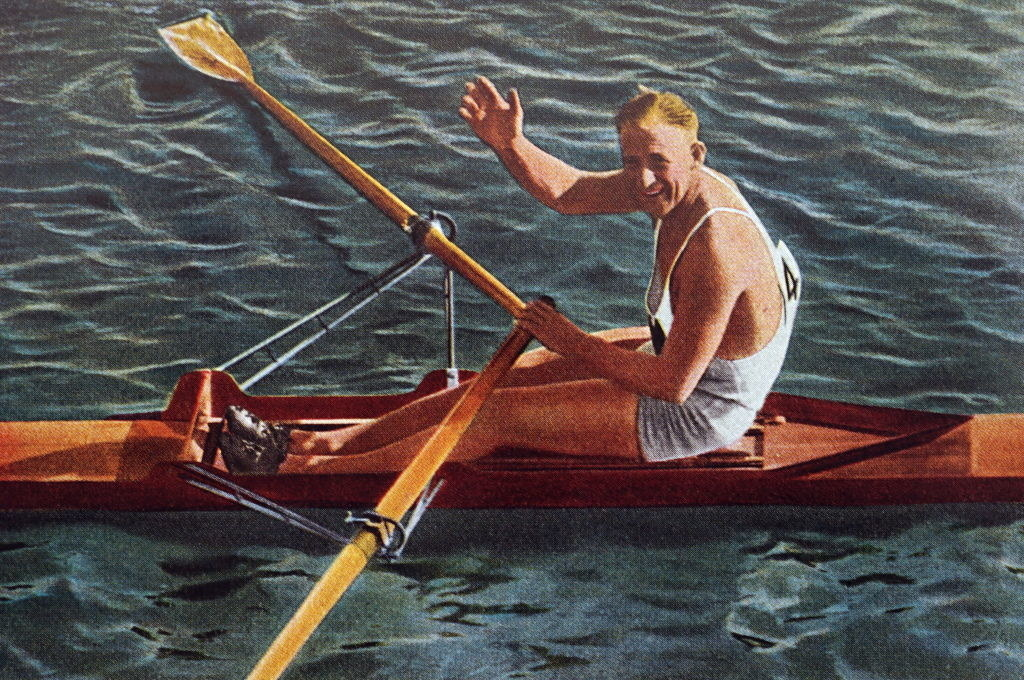 Henry in his boat during the 1932 Olympics