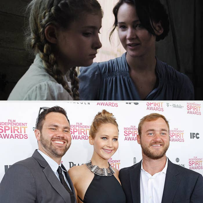 Above, Katniss is talking to Prim before the hunger games drawing. Below, Jennifer Lawrence is standing with her brothers at the Film Independent Spirit Awards