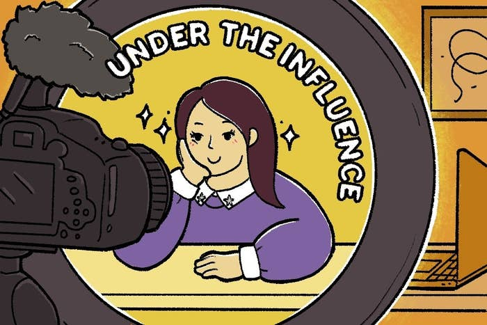 """Illustration of a person filming a video with """"Under the Influence"""" written over their head"""