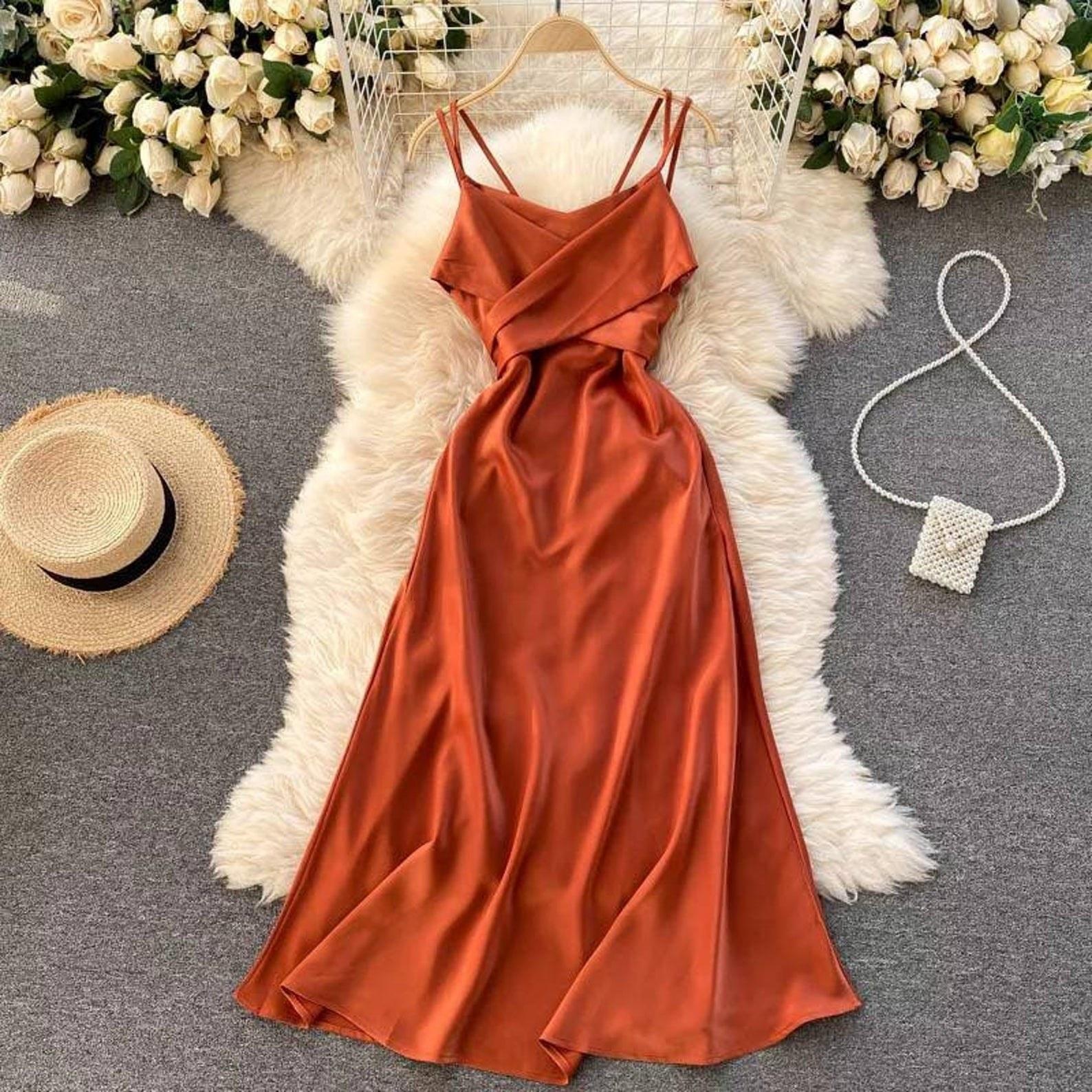 the orange summer wrap dress