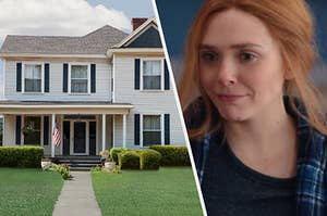 A modern style house sits in front of a cleanly manicured lawn and a close up of Wanda Maximoff as she shrugs her shoulders