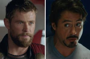 A close up of Thor as he glares at someone off screen and a close up of Tony Stark as he looks off to the side