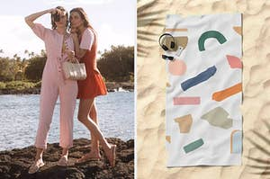 on left, model in pink jumpsuit. on right, geometric-print beach towel on sand