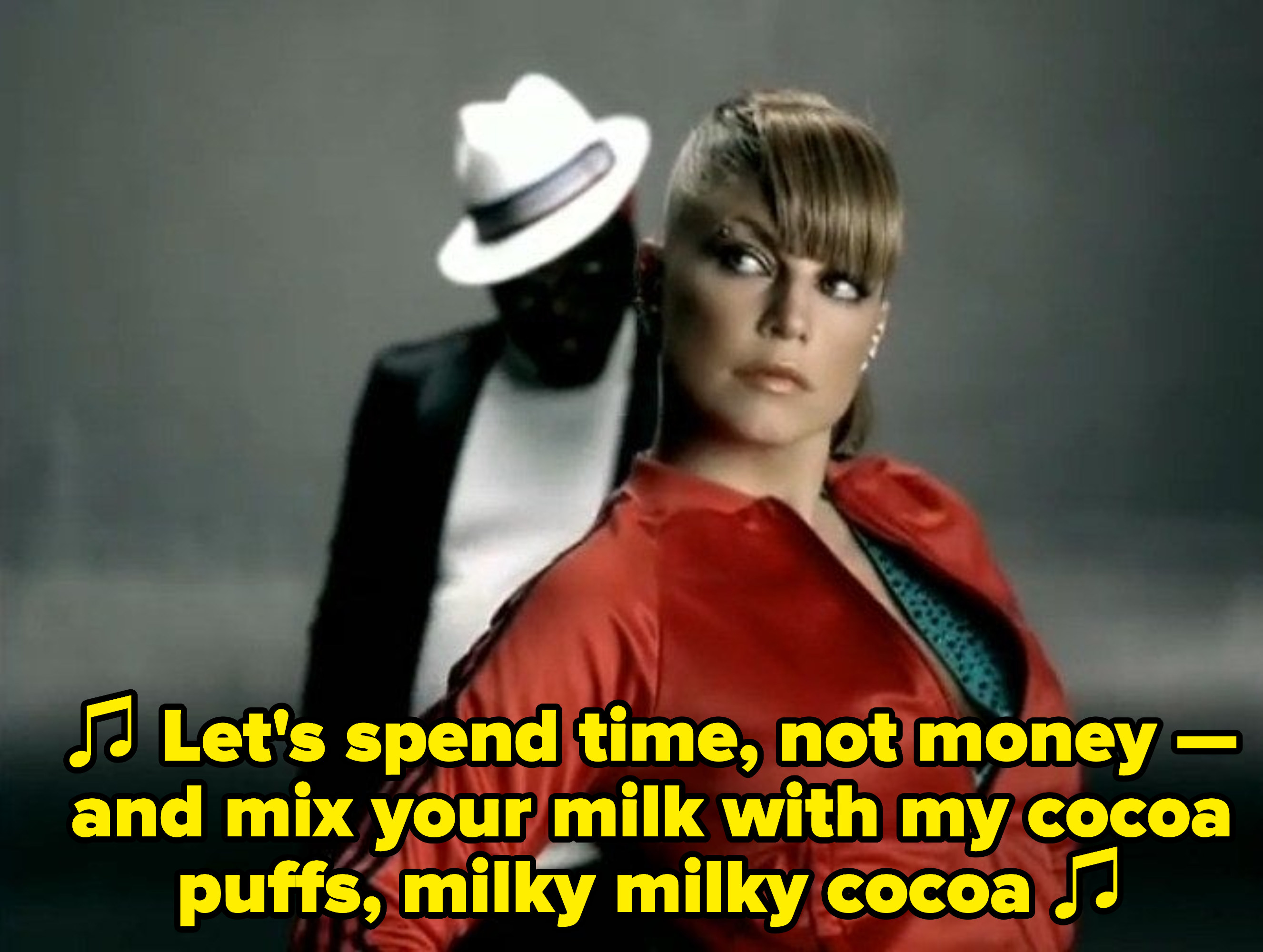 """Will I am singing: """"Let's spend time, not money — and mix your milk with my cocoa puffs, milky milky cocoa"""""""