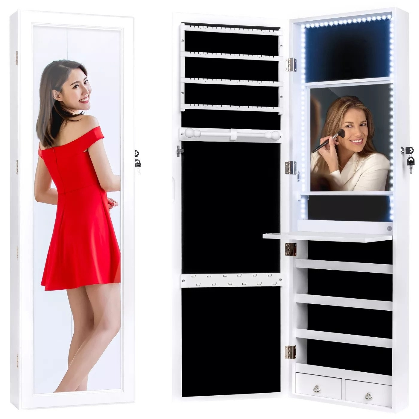 Model using mirror to see herself and do makeup; also showing off inside of jewelry organizer
