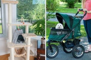 A split photo of a tall cat tower and a pet stroller with durable wheels