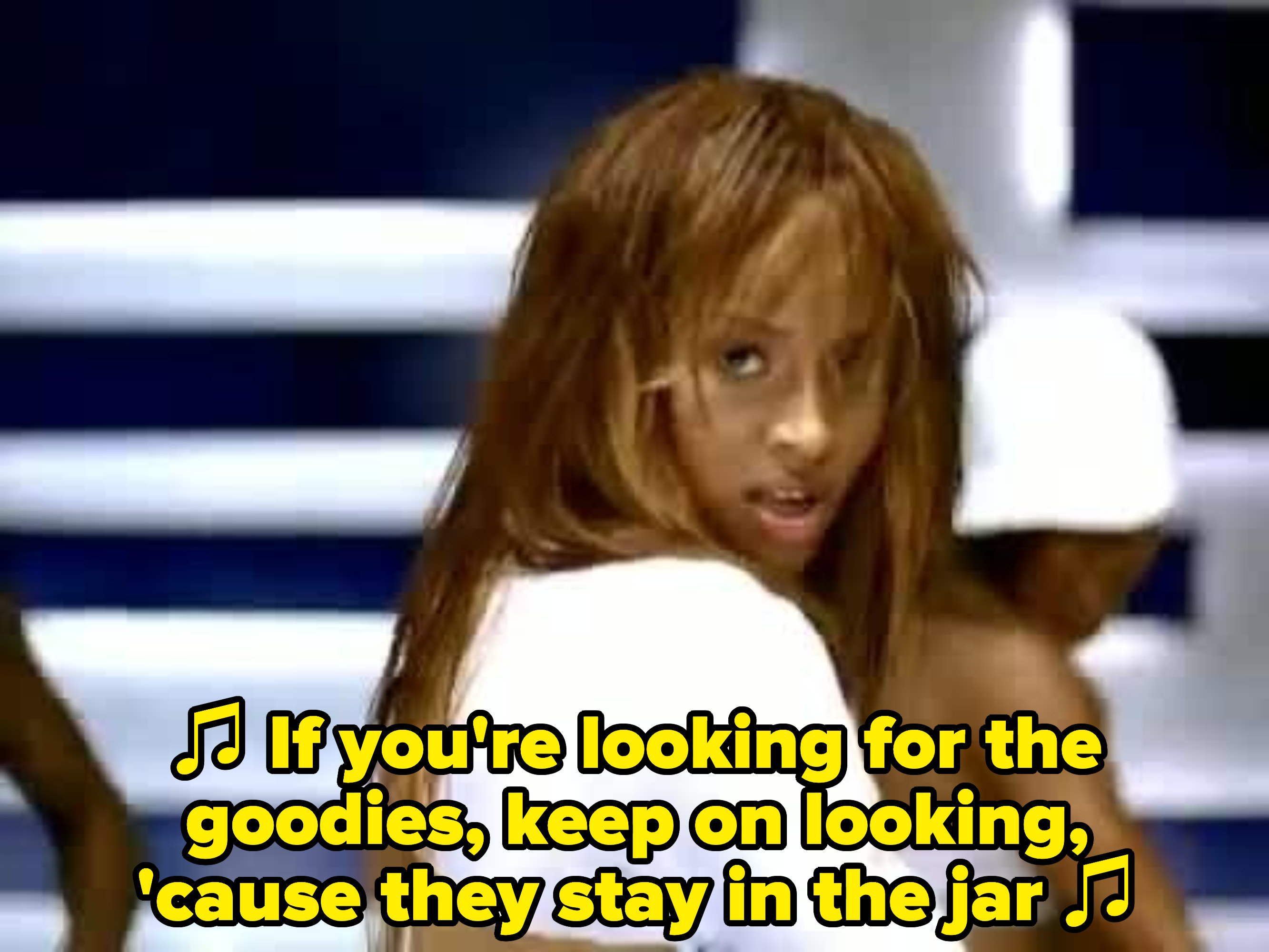 """Ciara singing: """"If you're looking for the goodies, keep on looking, 'cause they stay in the jar"""""""