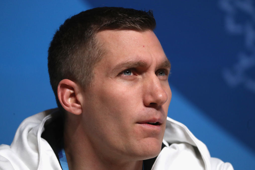 Chris speaks at a press conference ahead of the 2018 games