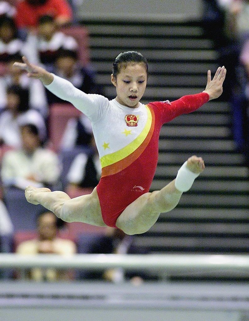 Dong Fangxio during her gymnastics routine at the Sydney Olympics
