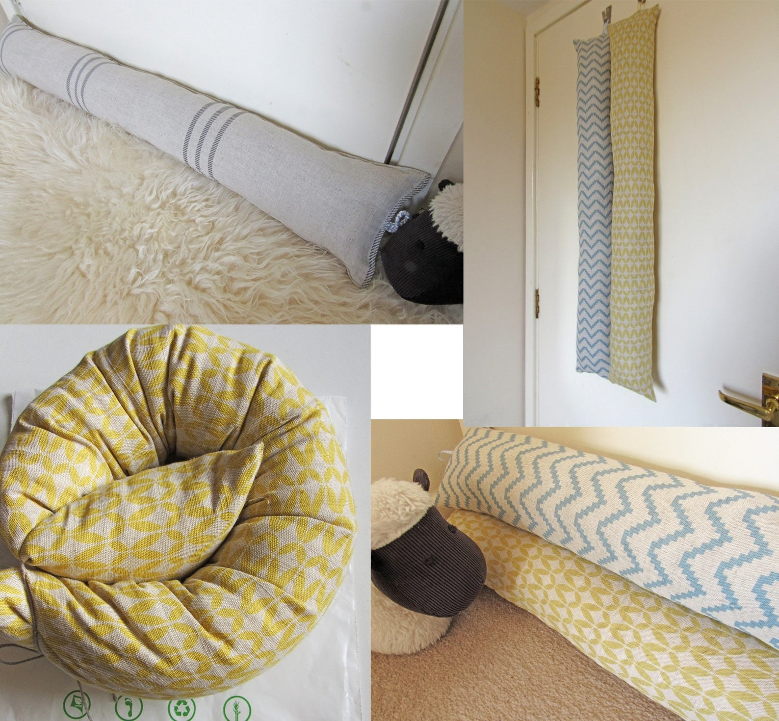 The draught excluder under the door, hanging from a hook on the door, and folded up.