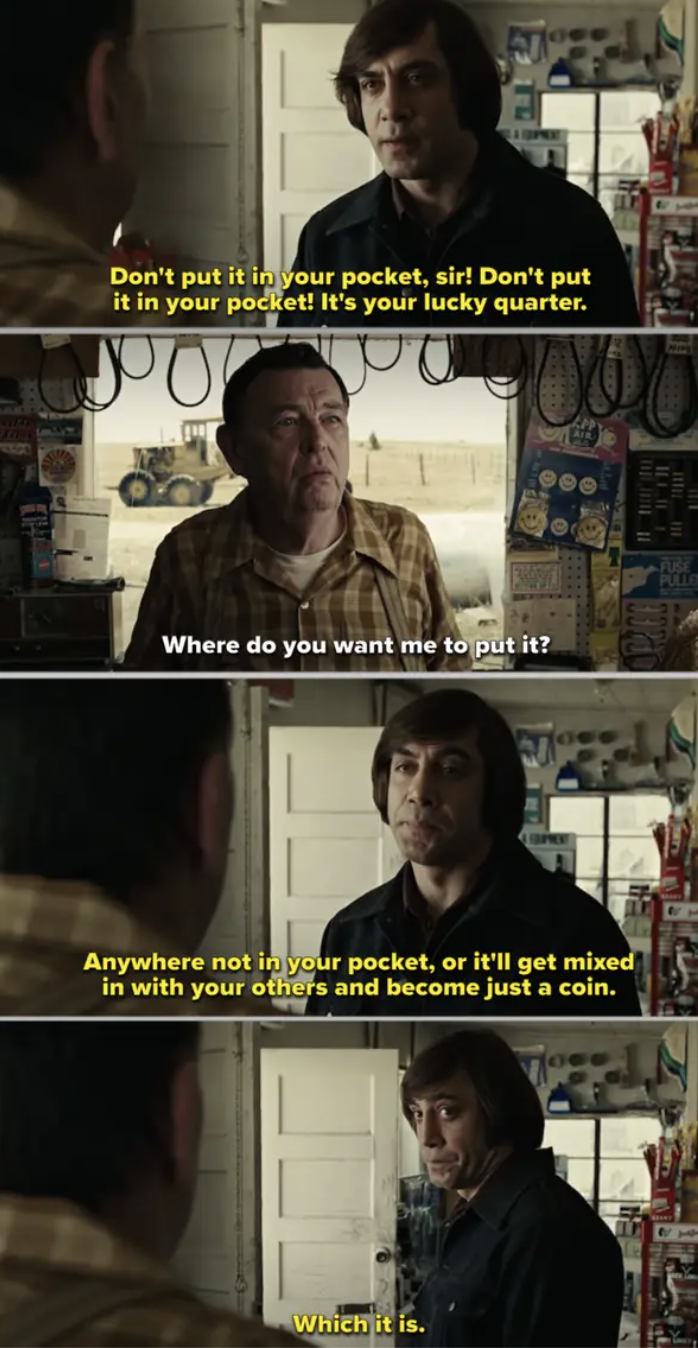 """Javier Bardem talking to Gene Jones in a store in """"No Country for Old Men"""""""