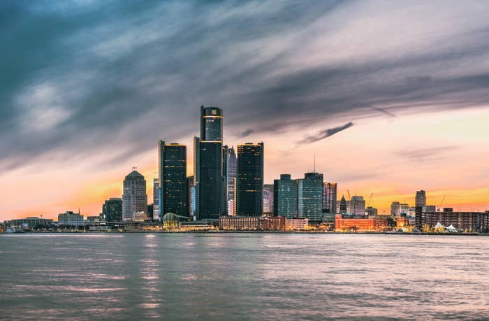 The Detroit skyline at dusk as seen from Windsor, Ontario