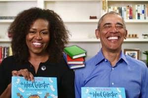 Michelle and Barack Obama reading children's books