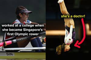 Rower Aisyah Rafaee worked at a college, and gymnast Ana Rente is a doctor