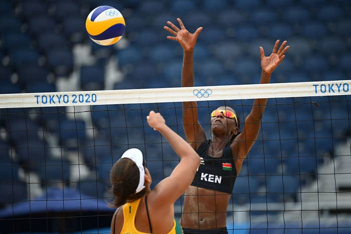 A beach volleyball match during the Tokyo Olympics