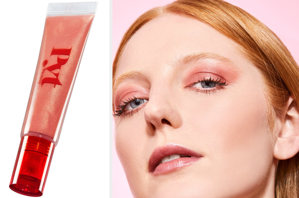 left: product image of gloss in Peachy Coral. right: model wearing the gloss