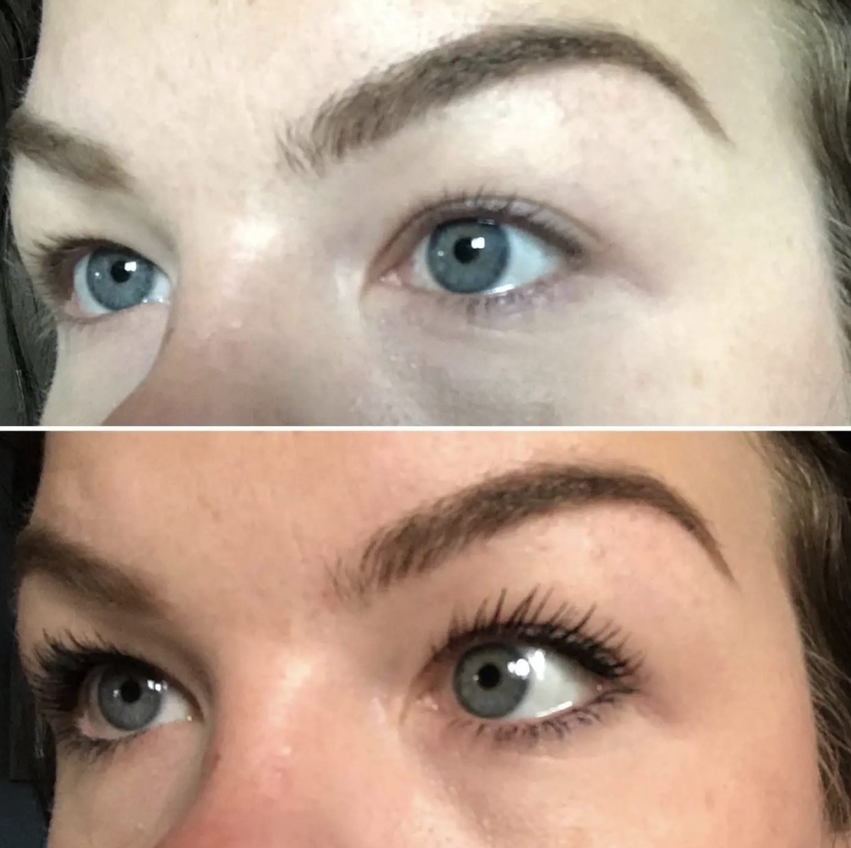 reviewer before and after using mascara