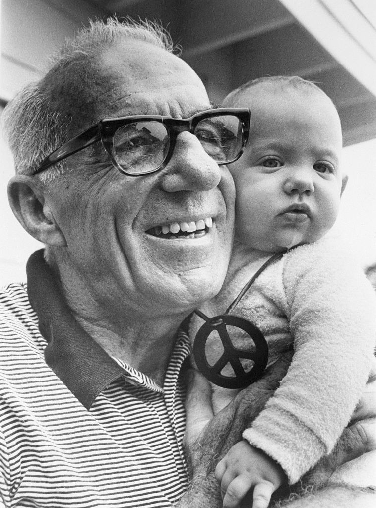 Doctor Spock with a baby in 1969