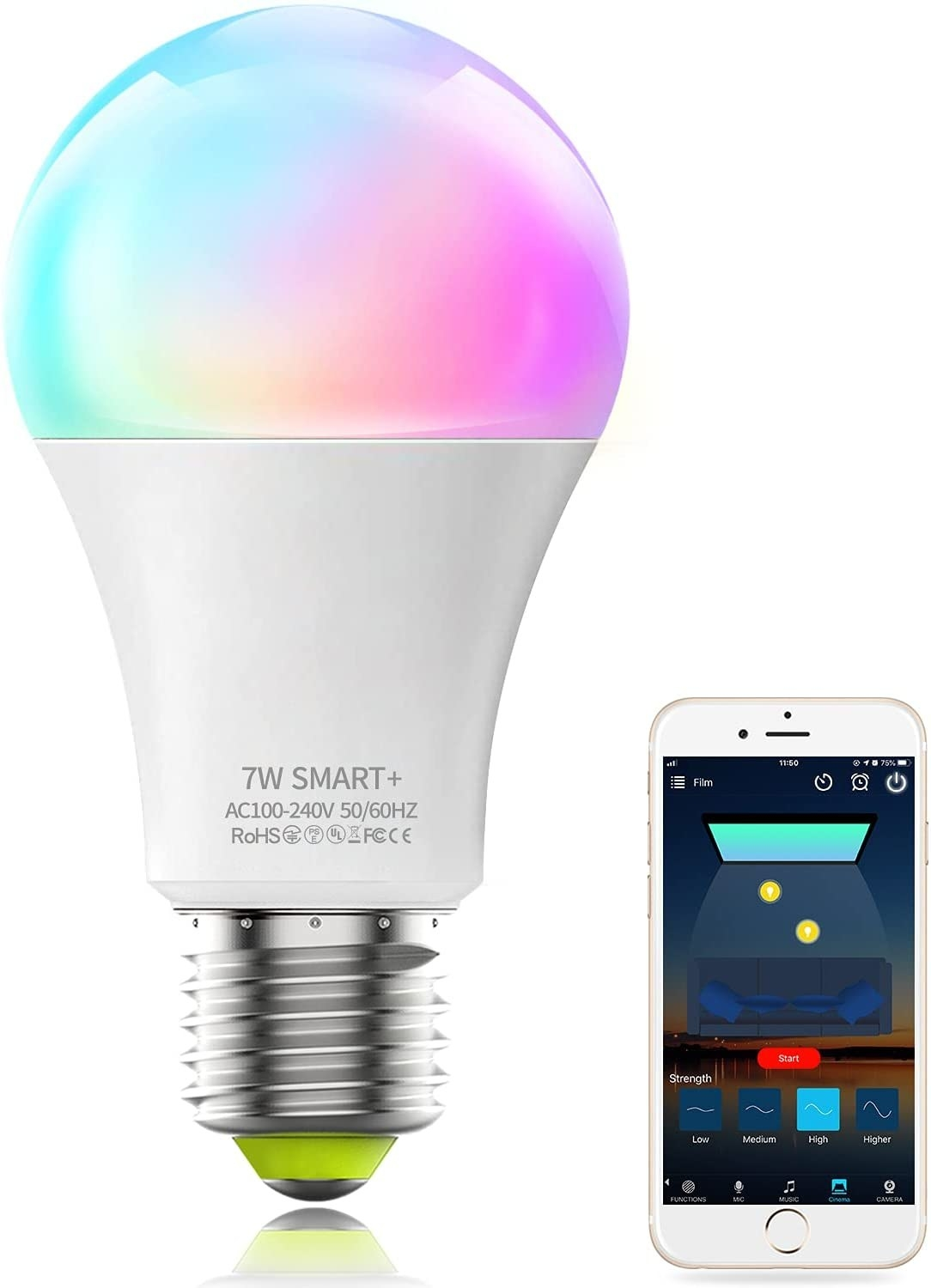 The light bulb next to a smart phone showing how it is controlled
