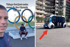 Athletes in the Olympic Village, and a self-driving car